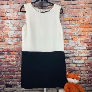 H&M black white sleeveless shift dress 10